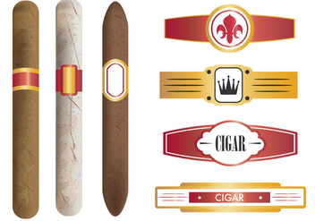 Cigar And The Labels Template - Free vector #401651
