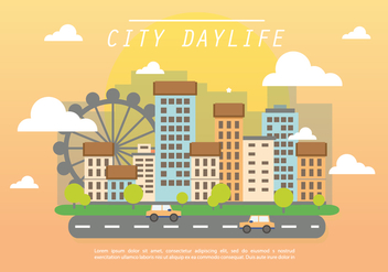 Flat City Daylife Vector Background - бесплатный vector #401661