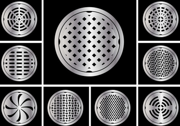 Manhole cover circle vector set - бесплатный vector #401761