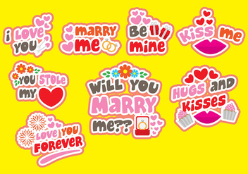 Marry Me Vecotr Badges - vector gratuit #401841