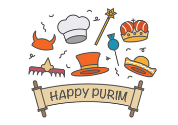Happy purim vector icons - vector #401981 gratis