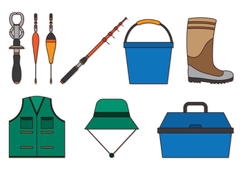 Set Of Fishing and Angler Icons - vector #402201 gratis