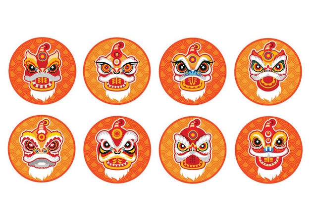 Chinese New Year Lion Dance Head Flat Vector Icon Set - Free vector #402421