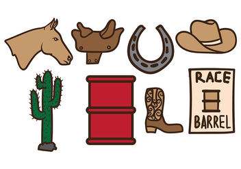 Old West Barrel Racing Vectors - Free vector #402451