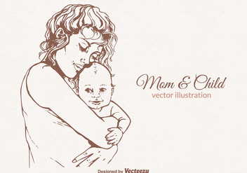 Free Mom And Child Vector Illustration - Free vector #402841
