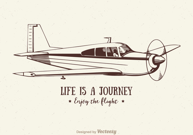Free Vector Vintage Airplane Illustration - Kostenloses vector #402861