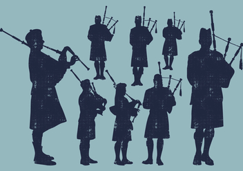 Bagpiper Silhouette - Free vector #403041