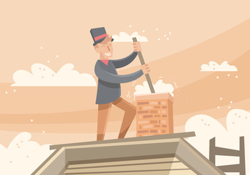 Chimney Sweep Vector Illustration - бесплатный vector #403101