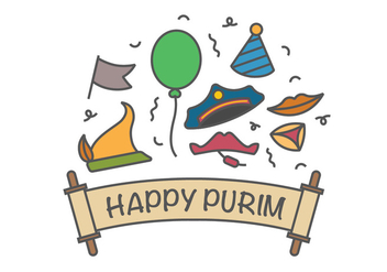 Happy purim vector icons - vector #403121 gratis