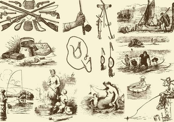 Sepia Fishing Rod Illustrations - Free vector #403231