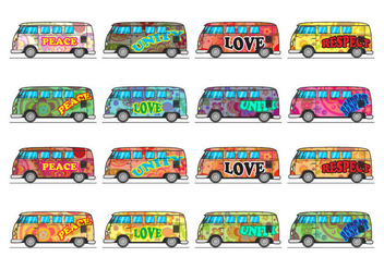 Free Hippie Bus Icon Vector - vector gratuit #403381
