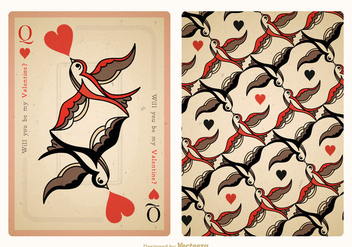 Free Vector Vintage Valentine Playing Card Back - Free vector #403711