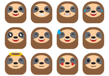 Free Cartoon Sloth Emoticons Vector - vector #403871 gratis