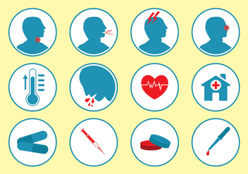 Sick and Medical Icon Vector Set - Free vector #403881