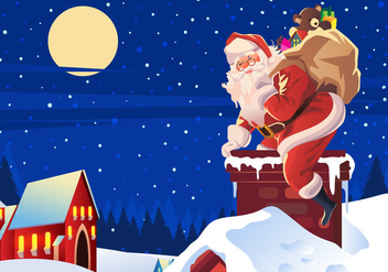 Sinterklaas Climbing on the Roof Vector - бесплатный vector #403921
