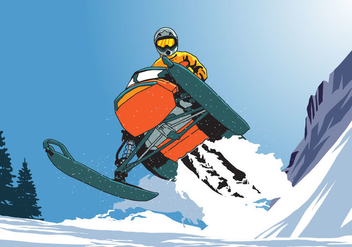 Riding Snowmobile Jumping - Free vector #403931