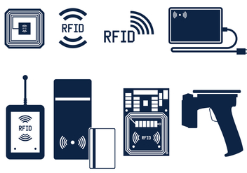 RFID Icon Set Free Vector - vector gratuit #404011