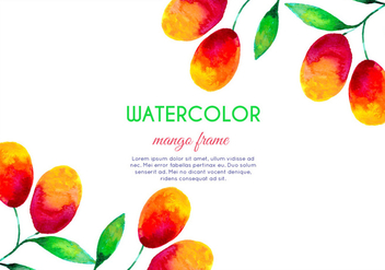 Vector Watercolor Mango Frame - бесплатный vector #404061