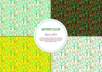 Free Vector Hand Drawn Watercolor Thyme Pattern With Flowers And Leaves - Free vector #404071