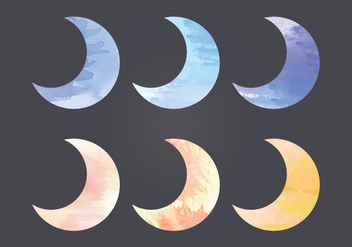Vector Watercolor Moon - бесплатный vector #404671
