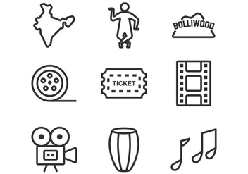 Bollywood Line Icons - Free vector #404731