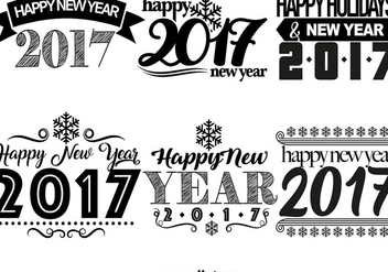 2017 Happy New Year Templates - Free vector #404891