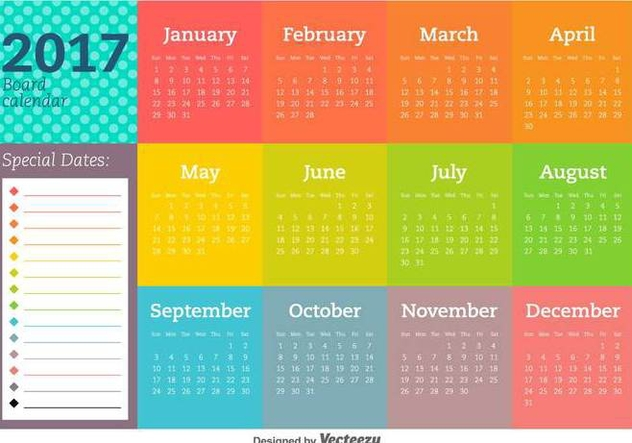 2017 New Year Calendar And Vector Templates - Kostenloses vector #404971