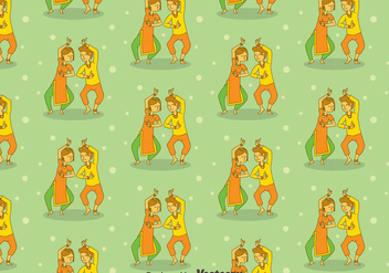 Cartoon Bollywood Dance Seamless Pattern - Free vector #405101