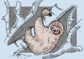 Free Sloth Vector Illustration - Free vector #405391
