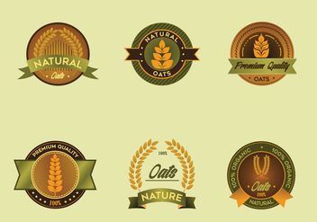 Oats label vector pack - vector gratuit #405411