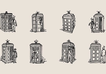 Hand Drawn Tardis Icon - vector gratuit #405541