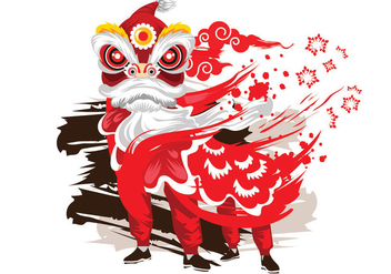 Vector Ink Style Illustration Traditional Chinese Lion Dance Festival Background - vector gratuit #405661