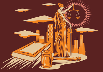 Lady Justice Vector Illustration in Wood Carving Design Style. - Free vector #405681