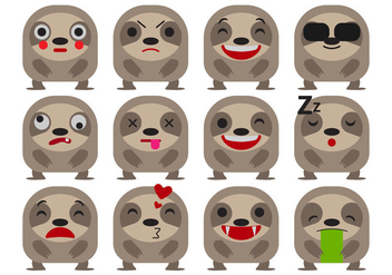 Free Cartoon Sloth Emoticons Vector - Free vector #405811