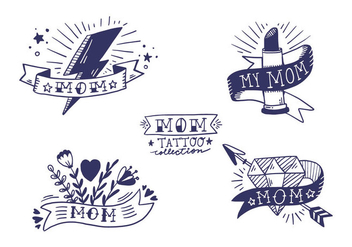 Free Mom Tattoo Collection - vector #405921 gratis