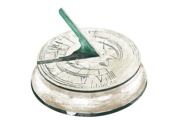 Free Sun Dial Watercolor Vector - vector gratuit #405951