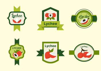 Red Lychee Fruits Label Vectors - Free vector #406341
