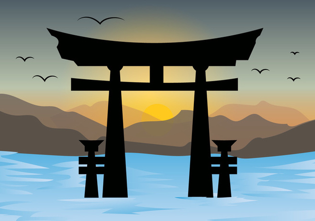 Torii Gates And Sunset Landscape Vector - Free vector #406491