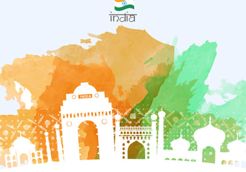 India Night Gate With Buildings Illustration - бесплатный vector #406581