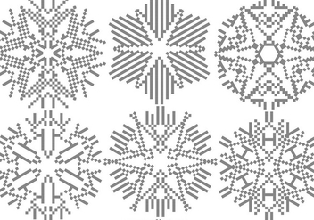 Pixelated Snowflakes Set - Free vector #406591