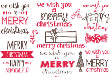 Cute Hand Drawn Christmas Labels - vector gratuit #406641