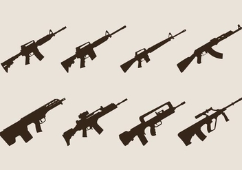 Assault Rifle Vectors - vector gratuit #406791