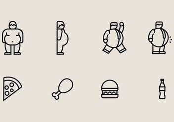 Fat Guy Icons - vector gratuit #406811