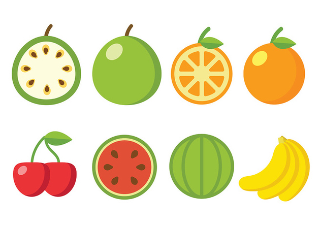 Flat Fruit Vector Icons - бесплатный vector #406871