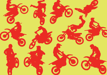Silhouette Of Motorcross - vector gratuit #407111
