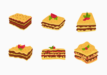 Lasagna vector food illustration - бесплатный vector #407181