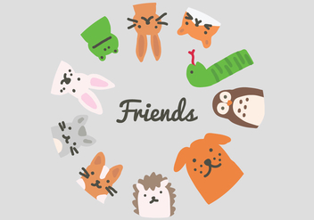 Circle of Animal Vector Friends - Free vector #407261