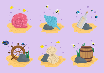 Seabed treasure stuff vector illustration - Free vector #407341