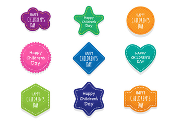 Free Children's Day Badges and Stickers Vector - vector gratuit #407541
