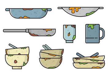 Free Dirty Dishes Vectors - Kostenloses vector #407551